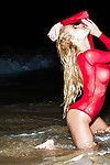 Appealing golden-haired cutie Dani showing her ruthless body at the beach
