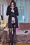 Charming pretty changes from a pink robe likes her office suit and ebon stockings