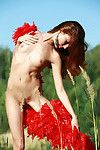 Slender and compact redhead kesy posing exposed