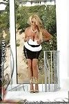 Appealing titsy blonde, Rachel Aziani, looks beautiful in her moist high heels, short leather short skirt and low circumcised top. This chick looks even larger not featured them!