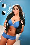 Boobsy Amber Campisi positions in ebony and blue