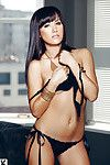 Svelte raiven-haired queen Kimberly Kisselovich charming off her underclothes