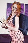 Redheaded Euro dear Ella Hughes exposing nifty schoolgirl apple bottoms in glasses