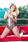 Golden-haired centerfold sample Anna Tatu baring her trimmed cooter outdoors