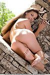 Erotic young Lorena B gives exposed upskirt outdoors in exposed feet & standing undressed