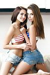 Centerfold lesbian cuties Michaela Isizzu and Sabrisse tribbing and mouth to mouth