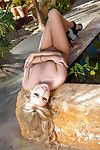 Fairy-haired centerfold hotty Elyse Jean freeing small mambos and arse from underware