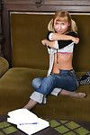 Infant solo cutie in jeans and pigtails revealing tiny breasts and anus
