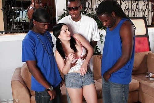 Stunning interracial gangbang with awesome dark-haired Angell Summers
