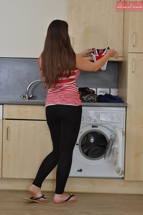 Chubby amateur chick Cherry Blush stripping at the public laundromat