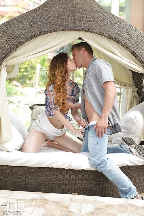 Gorgeous European teenager Misha Cross taking doggystyle cock outdoors