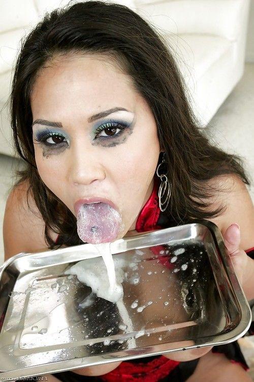 Horny Asian milf with huge boobs Jessica Bangkok eats a lot of cum