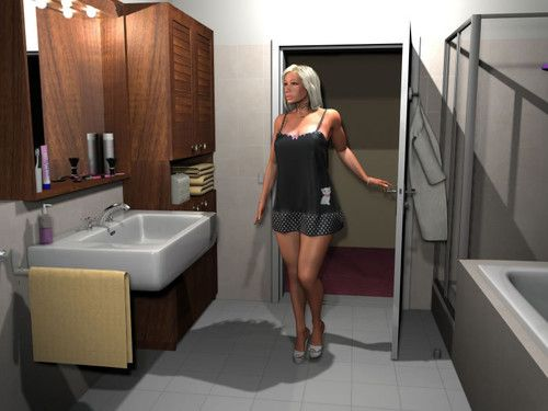 Seductive 3d blonde exposing her enormous tits in the bathroom