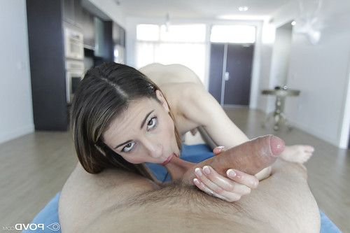 Naked female Kristen Scott delivering ball sucking point of view BJ