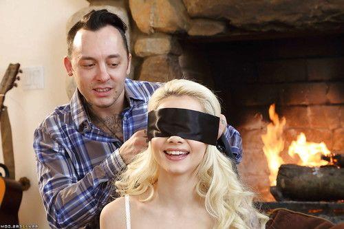 Blindfolded blonde teen Elsa Jean taking cum on face after giving oral sex