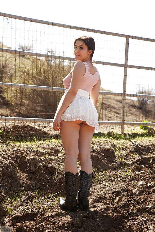Gracious brunette bombshell Valentina Nappi having fun on a farm