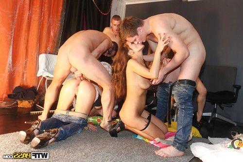 Nasty brunette teens enjoy a kinky anal orgy with their horny coeds
