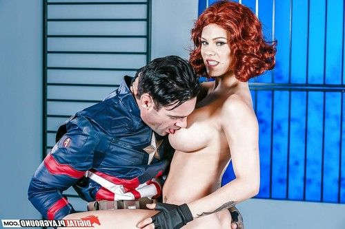 Busty redhead Peta Jensen getting fucked in leather by cosplay attired dick