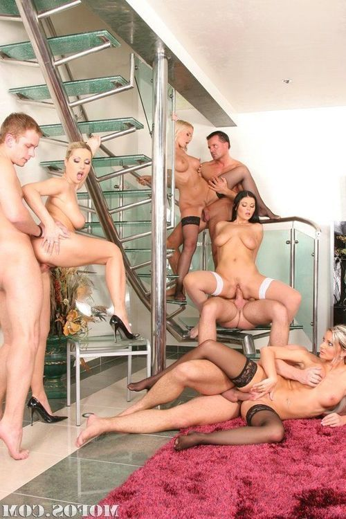 Lustful ladies with big tits are into wild sex gangbang with well-hung guys