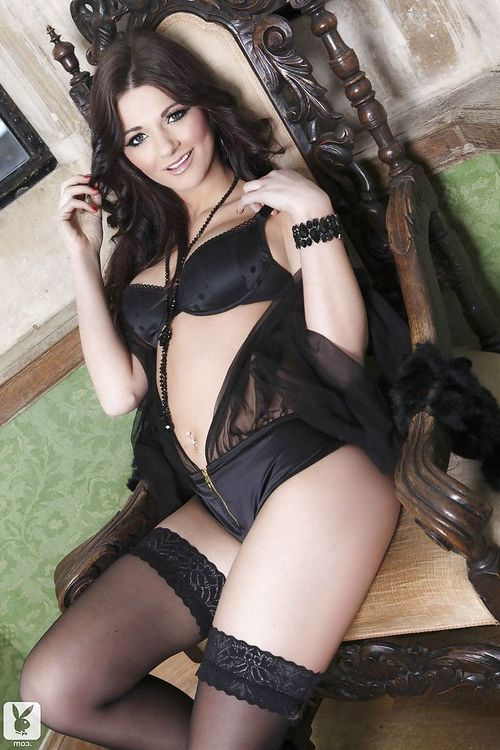 Dainty brunette in  and snazzy lingerie uncovering her hot twists