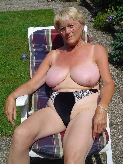 Youthful grannies showing off their massive bra buddies