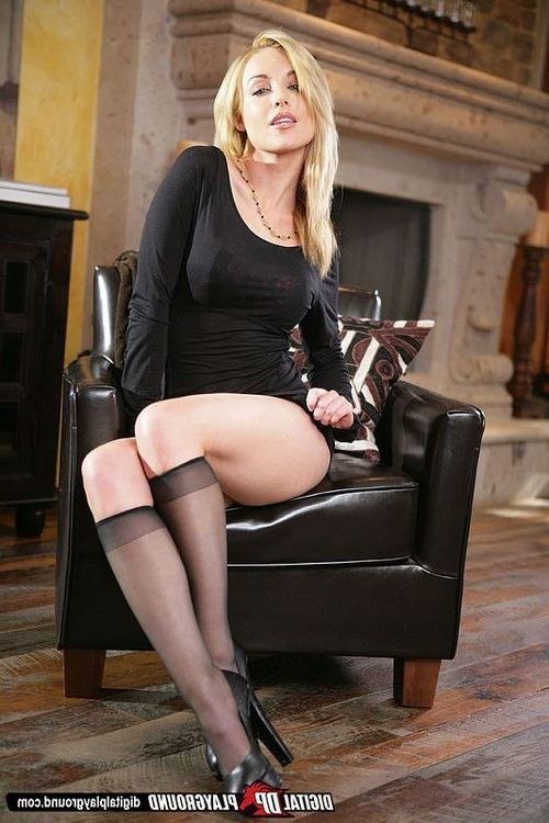 Amazingly untamed fairy-haired in nylon knee socks uncovering her nice-looking bends over