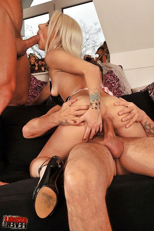 Exquisite anal groupsex with elegant blond household slave Chocky White.