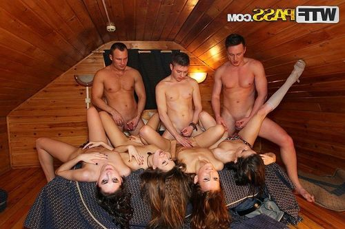 Lusty student cuties receive ravished in a damp groupie