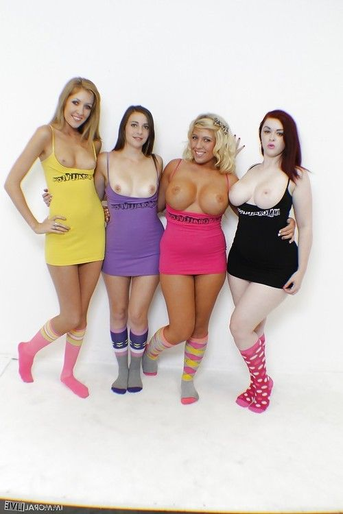 Heidi Hollywood, Emily Kae, Summer Rae and Jaye Rose pose non nude in socks