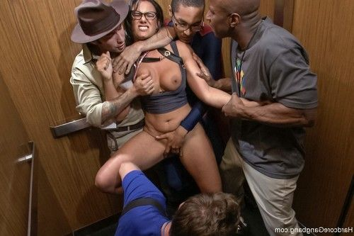 Busty horny brunette gets gangbanged in an elevator