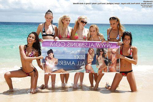 Stupendous teenage gals stripping off their bikinis outdoor