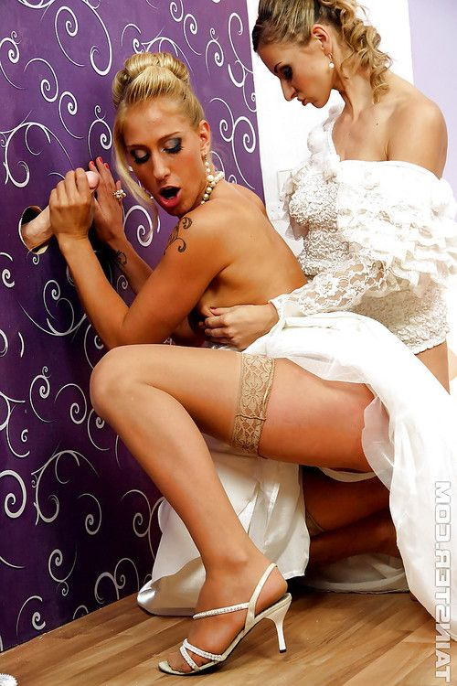 Hot bride Dionne Darling is into messy gloryhole action with her friend