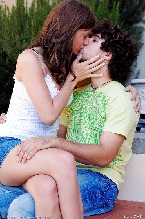 Amateur couple kissing outdoors before she flashes upskirt panties