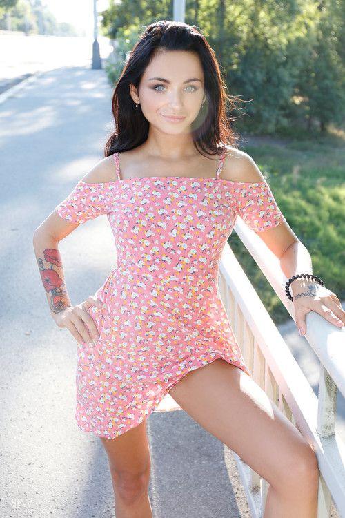 Naughty teen inga flaunts sexy body outdoors in public