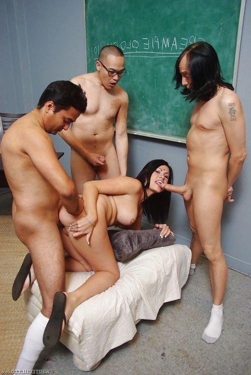 Filthy indian slut with big tits enjoys a groupsex with three lads