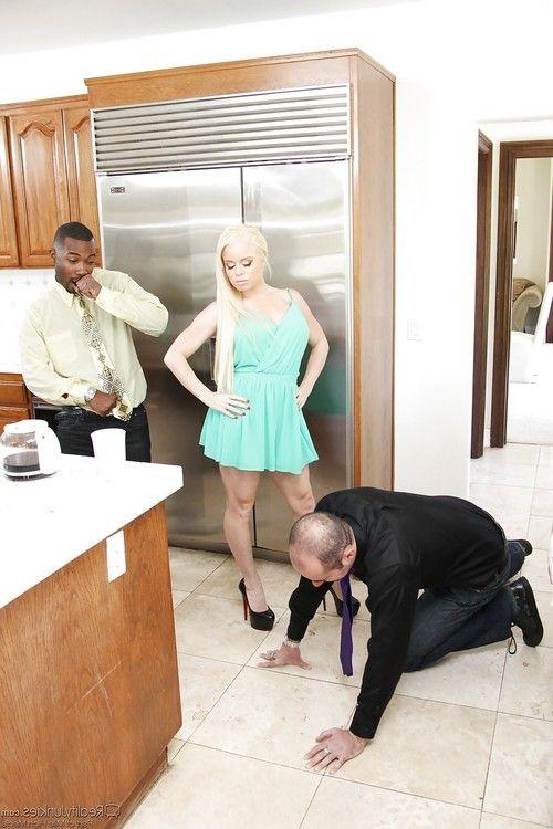 Sexy blonde Nikki Delano takes bbc & gets cum on ass wearing heels