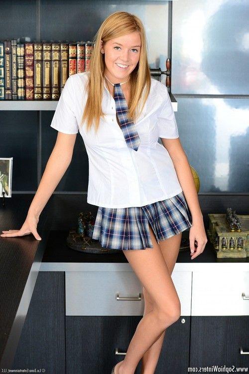 Sophia winters in her plaid skirt school uniform
