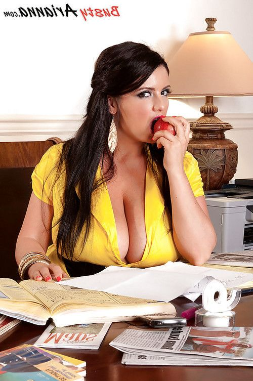 Fatty secretary Arianna Sinn getting naked in the office and caressing big tits