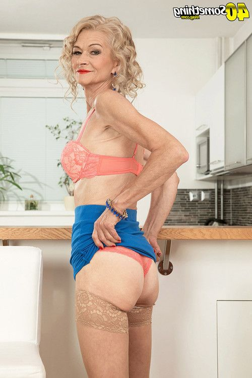Sexy old mommy showing her perfect body for her age