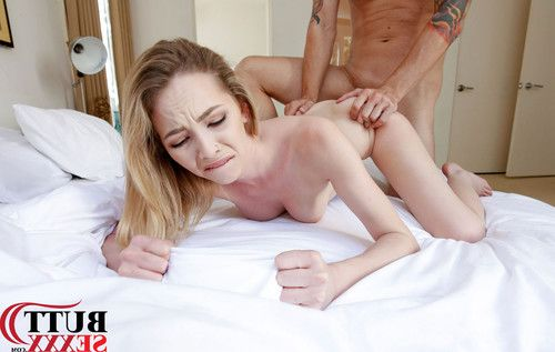 Petite blonde takes it up the ass
