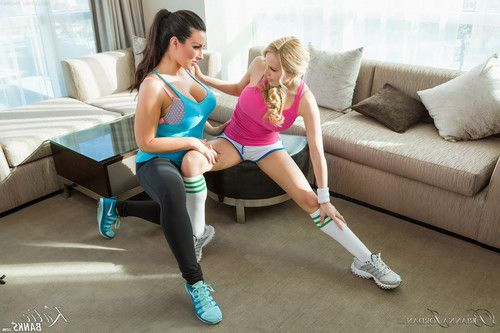 Katie banks in hot lesbian action with her personal trainer