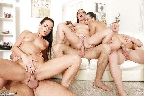 Hot sluts get anal fucking and covered in cum in hot groupsex swingers orgy