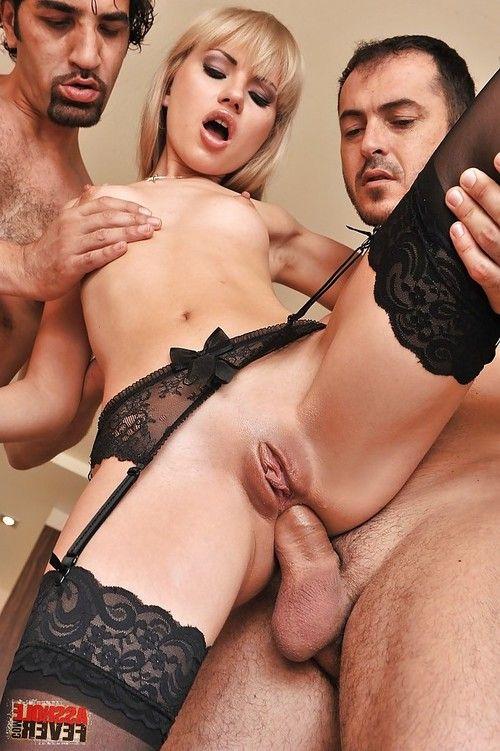 Threesome sex scene featuring an formidable European blondie Sasha Rose
