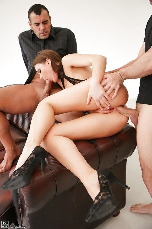 European brunette Tina Kay having tight asshole stuffed with dick in 3some