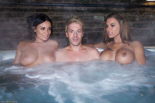 Buxom chicks Anissa Kate and Peta Jensen give big cock handjob in threesome