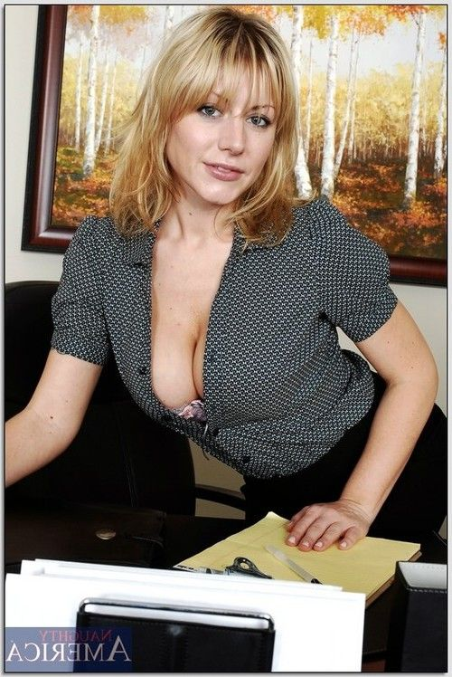 Sexy office babe Velicity Von showing a hot striptease and masturbating