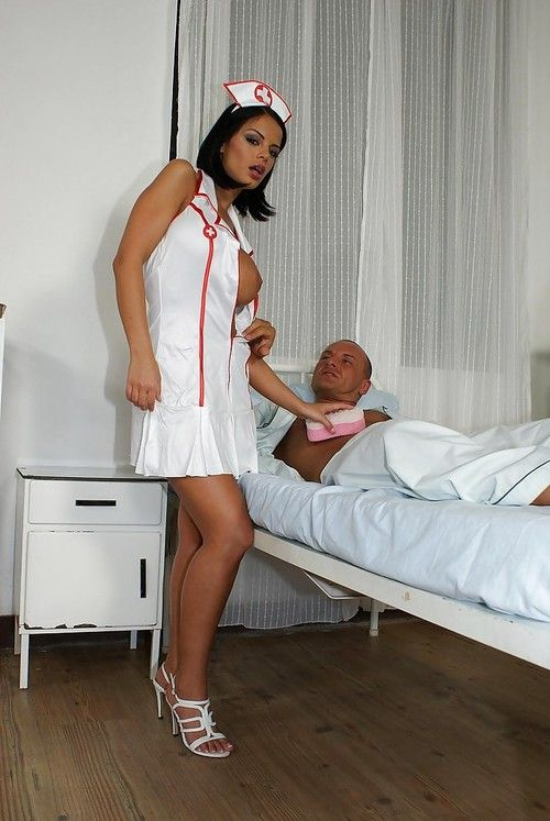 Hot nurse Black Angelica has some anal pounding fun with her horny patient