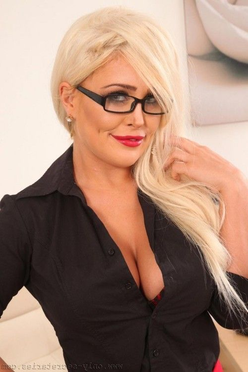 Busty stocking blonde with awesome tits
