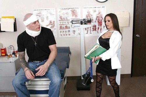 Stunning doctor Rachel RoXXX stripped to sexy underwear and shafted