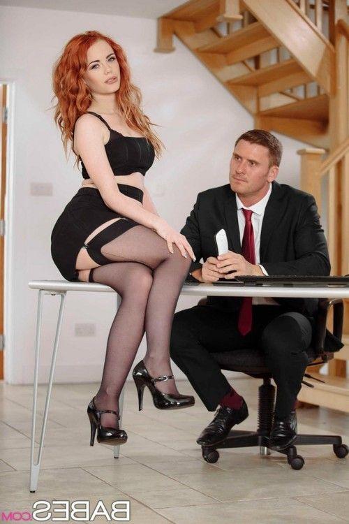 Horny slim redhead fucked in stockings